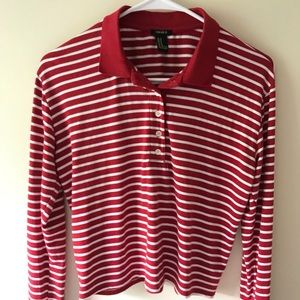 Red and white striped sweater, cropped (size M)